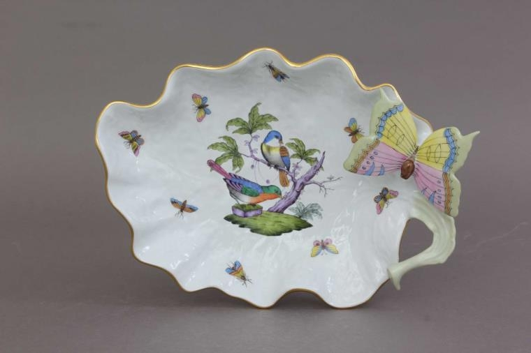 Large Leaf Dish with Butterfly - Rothschild Bird Multicolor