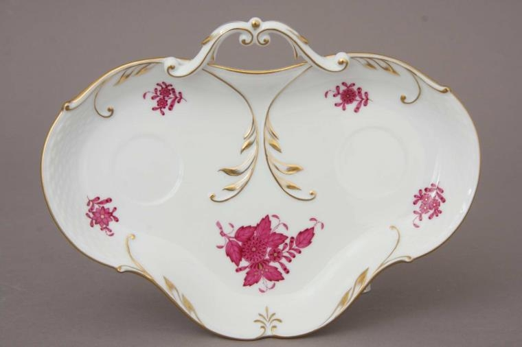 Chinese Bouquet Raspberry Herend Decor Dish w. 24k. Gold