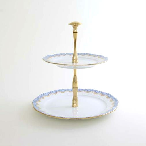 2 Tier Fruit Stand - Fishnet Blue