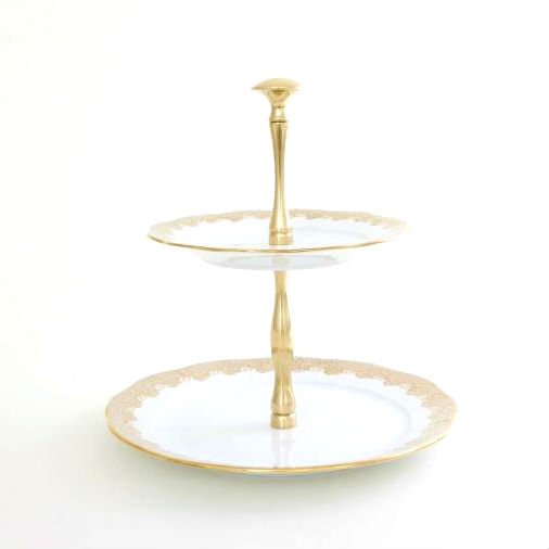 2 Tier Fruit Stand - Fishnet Gold