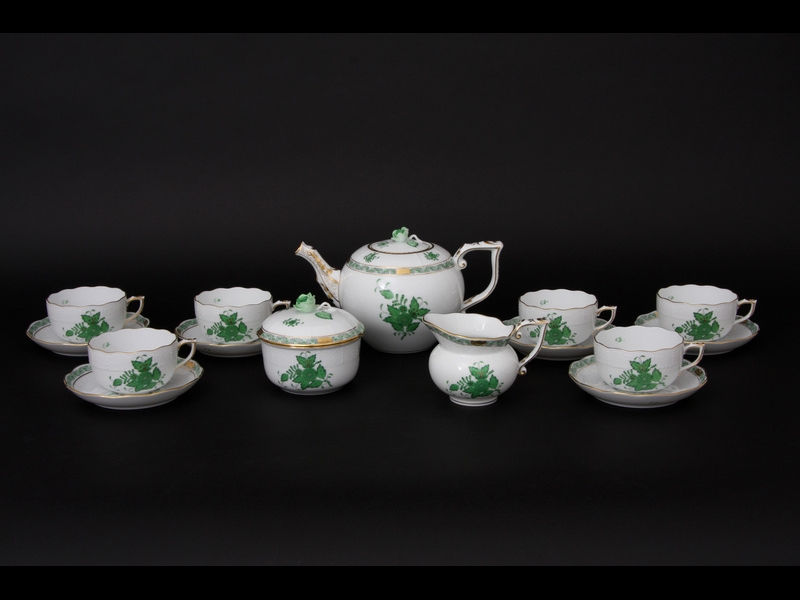 Herend Tea Set for 6 - Chinese Bouquet Green