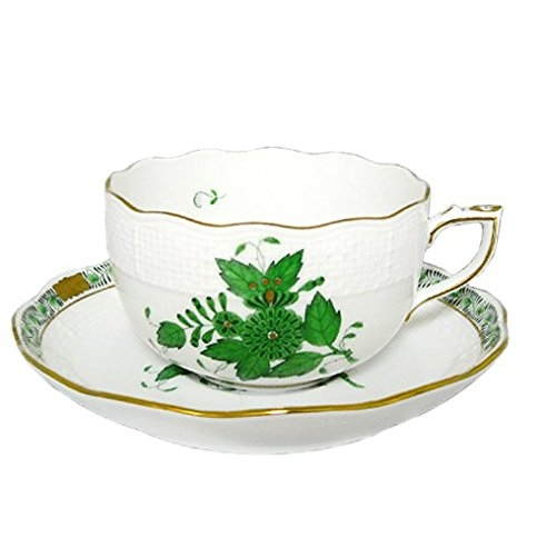 Teacup and Saucer - Chinese Bouquet Green Herend Porcelain