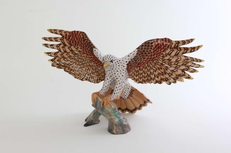 Herend Porcelain Landing Hawk - FIshnet Special