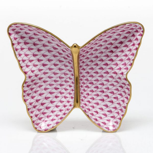 Herend Pin Butetrfly Dish Fishnet Pink