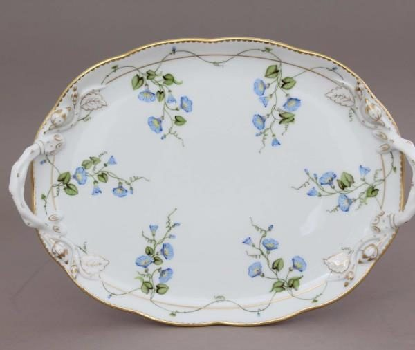 Oval Tray w. Handle - Herend Morning Glory