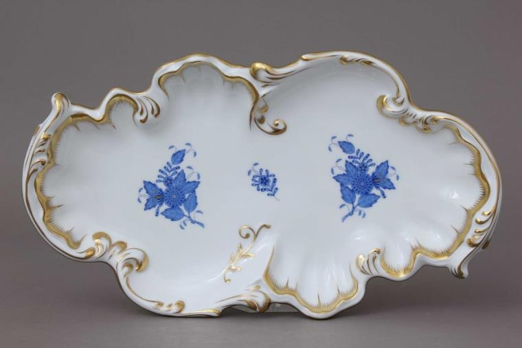 Herend Chinese Bouquet Blue - Rococo dish