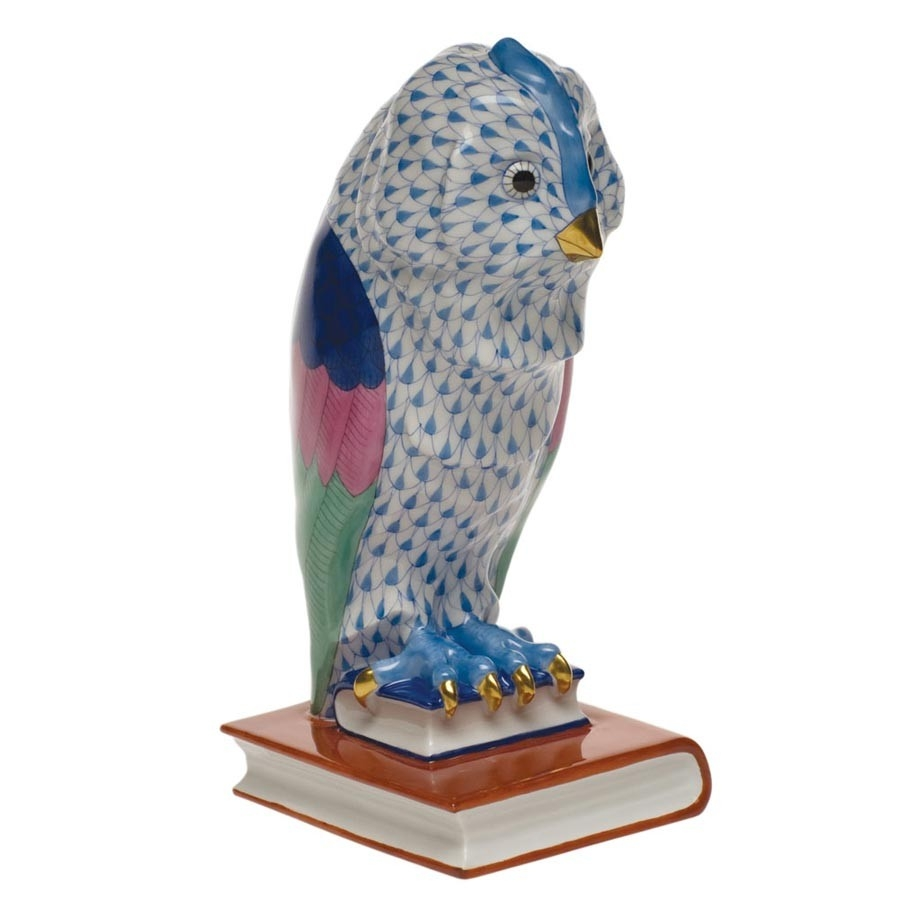 Herend Fishnet Owl Sitting on Book