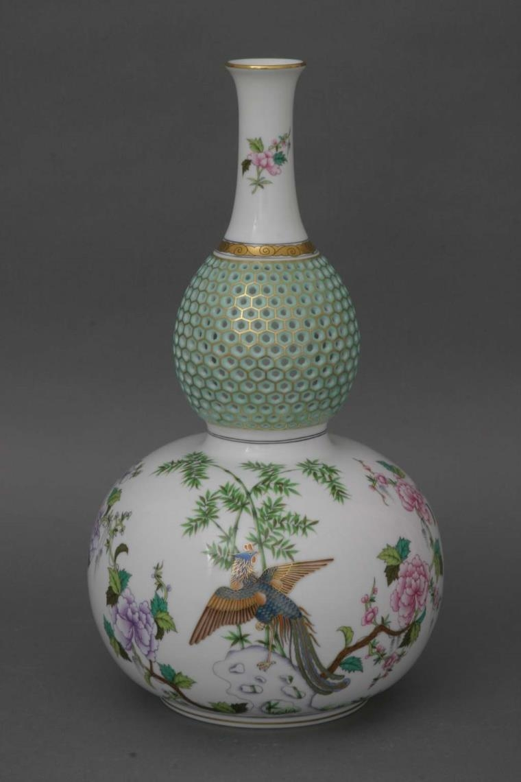 Bottle Shaped Vase, Open -Work - Phoenix Edition