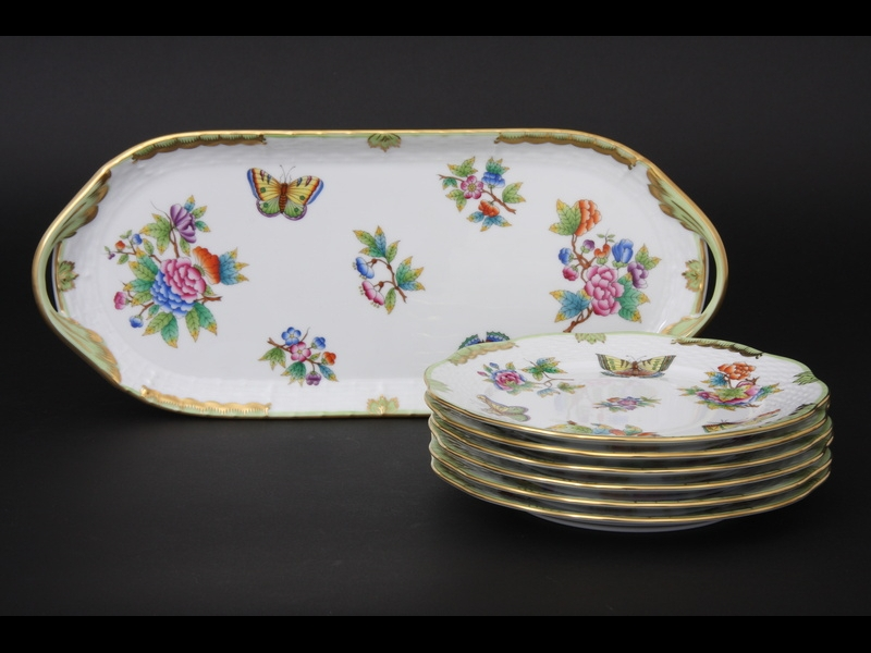 Herend Queen Victoria Dessert Set for 6