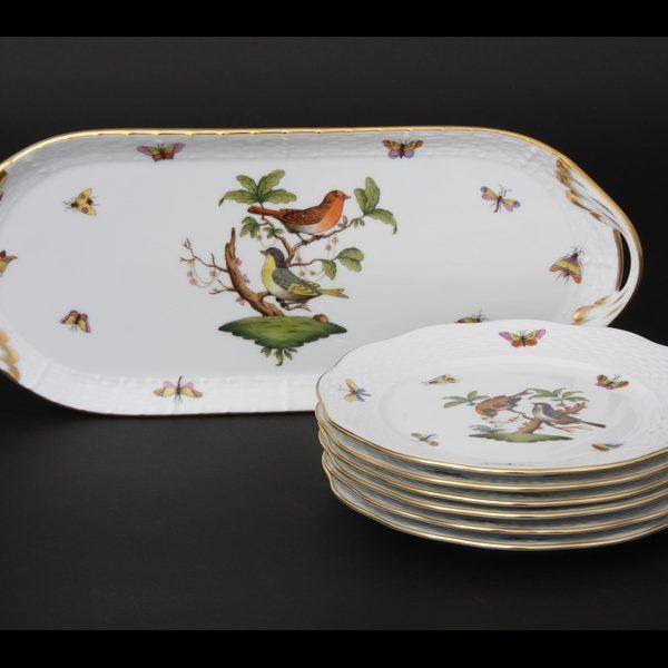 Herend Dessert Set for 6 - Rothschild Bird