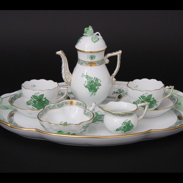 Coffee Set for 2 - Apponyi-Chinese Bouquet Green