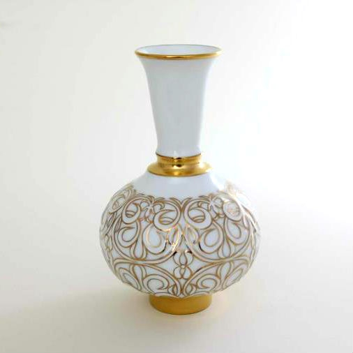 Vase with Relief - Oriential Outlines White