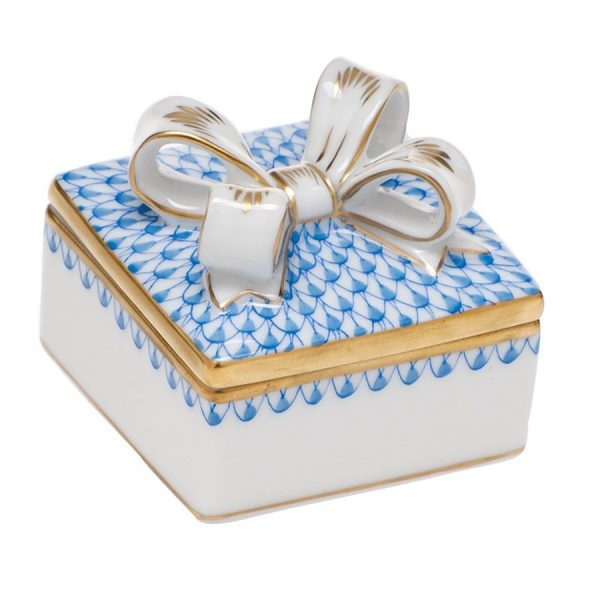 Herend Box with Bow - Fishnet Blue