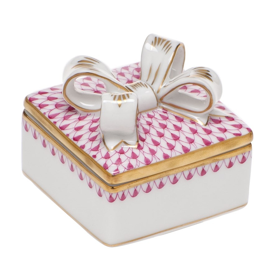 Herend Box with Bow - Fishnet Pink