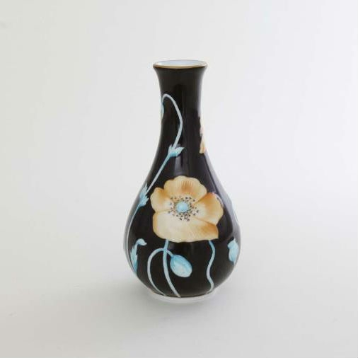Vase, embossed - Poppy Black