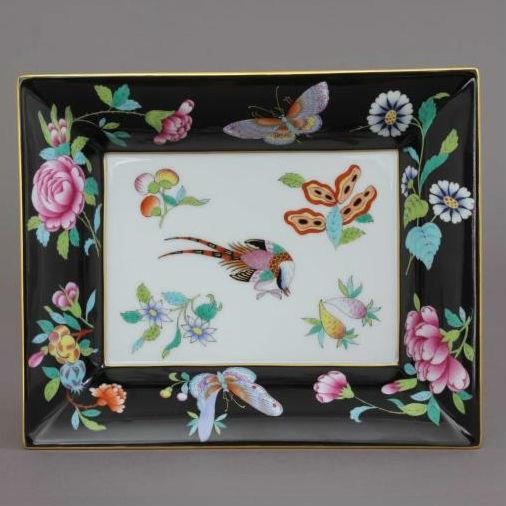 Herend Porcelain Jewellery Plate - Black Phoenix