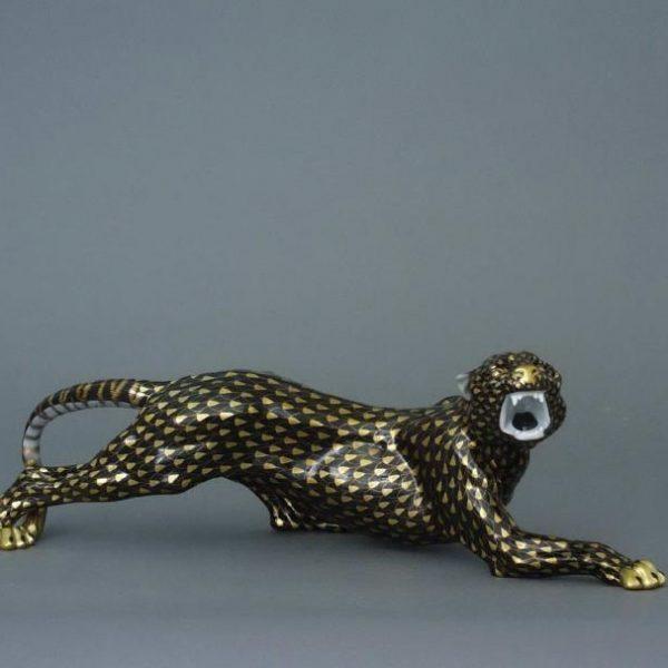 Herend Tiger - Fishnet Black & Gold