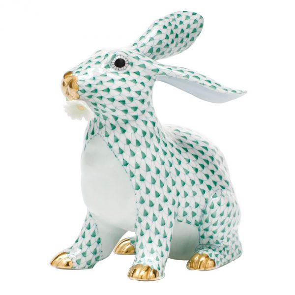 Herend Bunny With Daisy - FIshnet Green