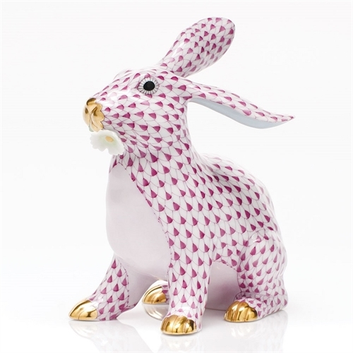 Herend Bunny With Daisy - FIshnet Pink