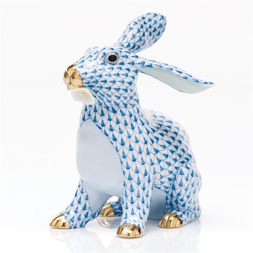 Herend Bunny With Daisy - FIshnet Blue