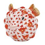 Herend Puffer Fish Figurine Rust Fishnet