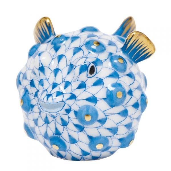 Herend Puffer Fish Figurine Blue Fishnet