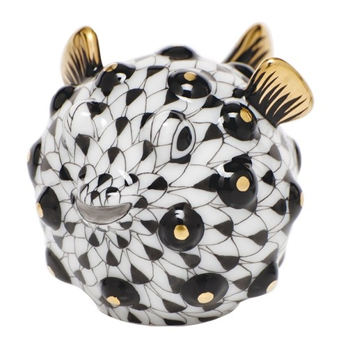 Herend Puffer Fish Figurine Black Fishnet