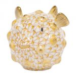 Herend Puffer Fish Figurine Butterscotch Fishnet