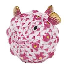 Herend Puffer Fish Figurine Pink Fishnet