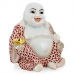 Herend Laughing Buddha Figurine Rust Fishnet