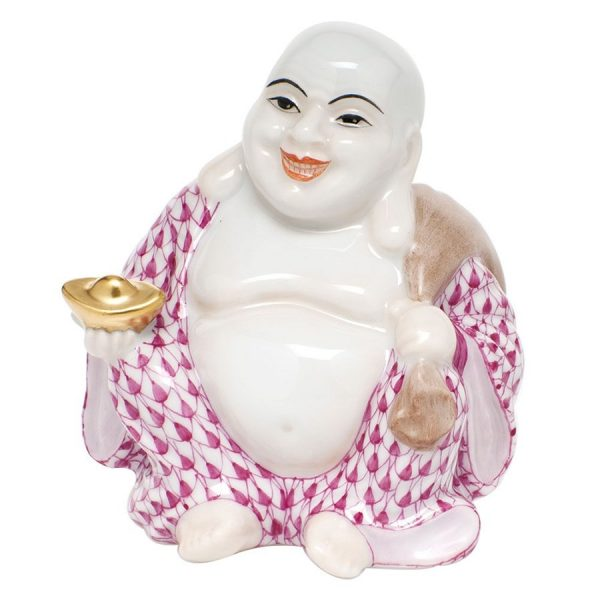 Herend Laughing Buddha Figurine PInk Fishnet