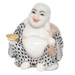 Herend Laughing Buddha Figurine Black Fishnet