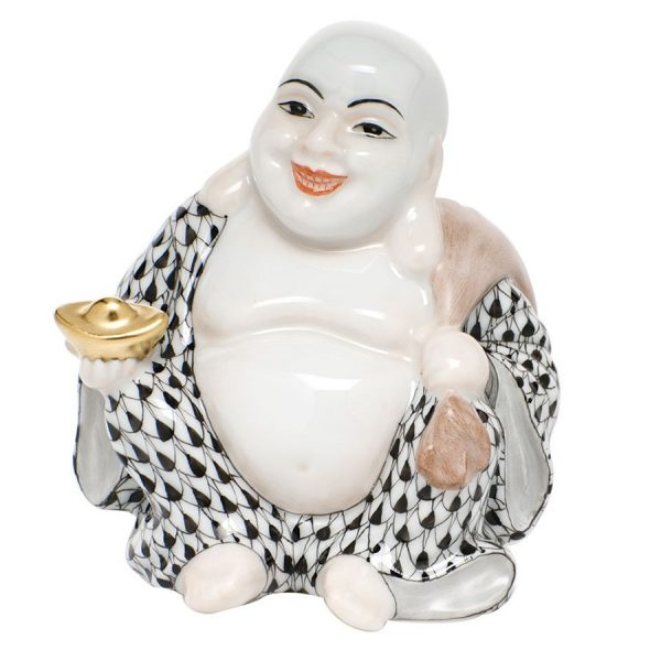 Herend Laughing Buddha Figurine Black Fishnet
