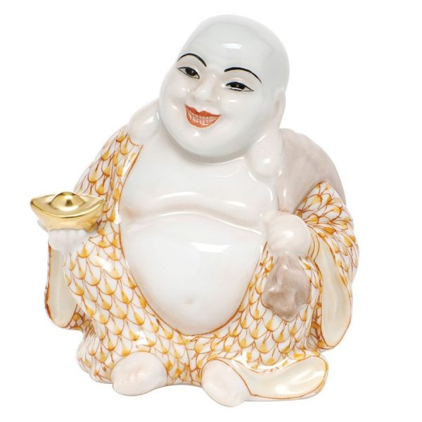 HEREND SMALL LAUGHING BUDDHA Handmade and handpainted Herend porcelain from Hungary with 24 karat gold accents.