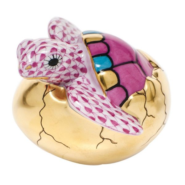 Herend Hatching Sea Turtle Figurine Pink Fishnet