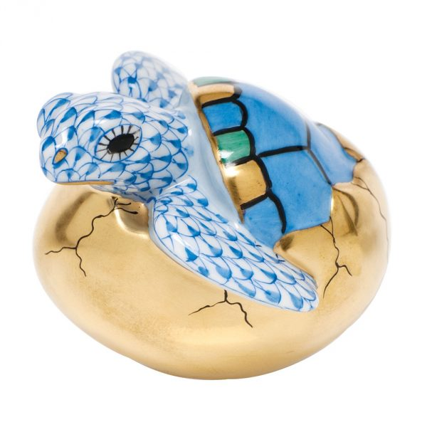 Herend Hatching Sea Turtle Figurine Blue Fishnet
