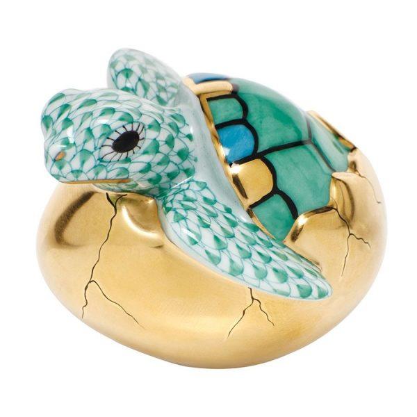 Herend Hatching Sea Turtle Figurine Green Fishnet