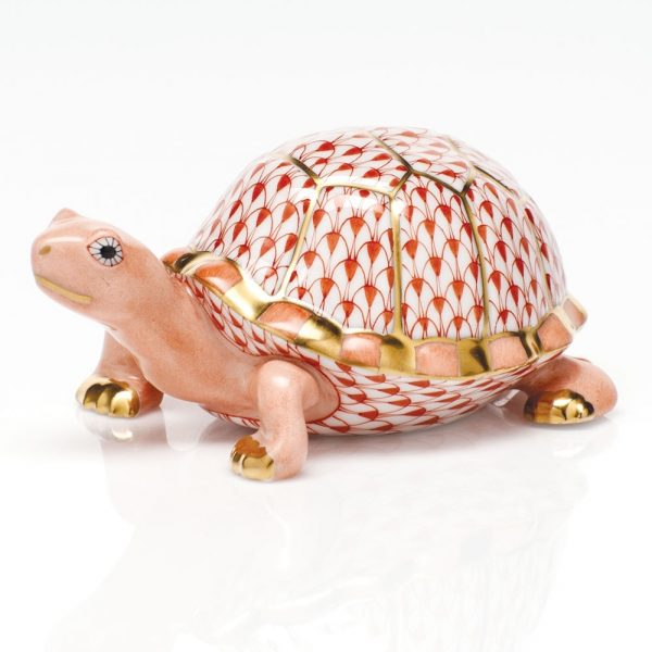 Herend Box Turtle Figurine Rust Fishnet