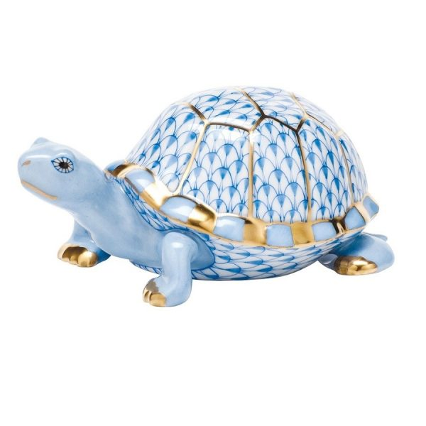 Herend Box Turtle Figurine Blue Fishnet