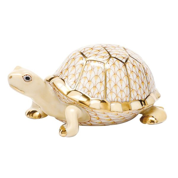 Herend Box Turtle Figurine Butterscotch Fishnet