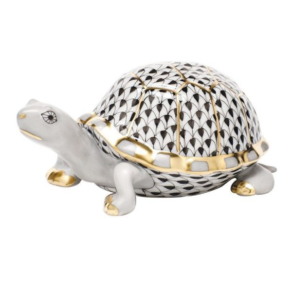 Herend Box Turtle Figurine Black Fishnet