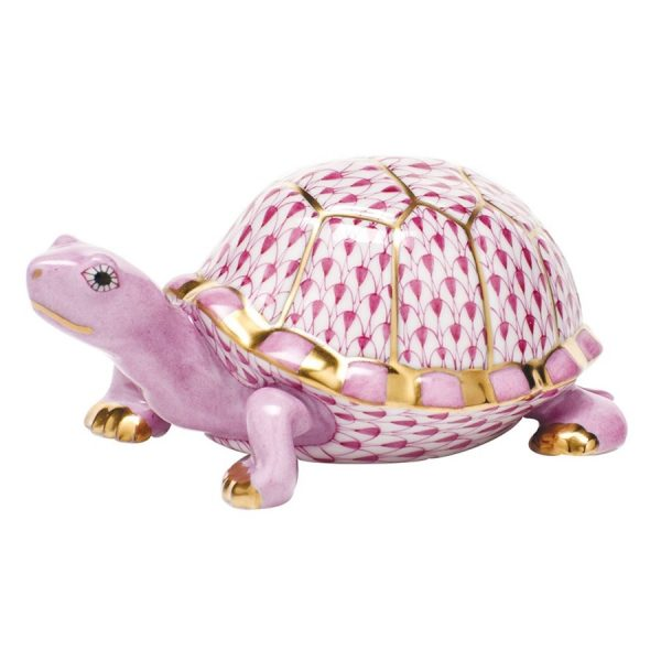 Herend Box Turtle Figurine Pink Fishnet