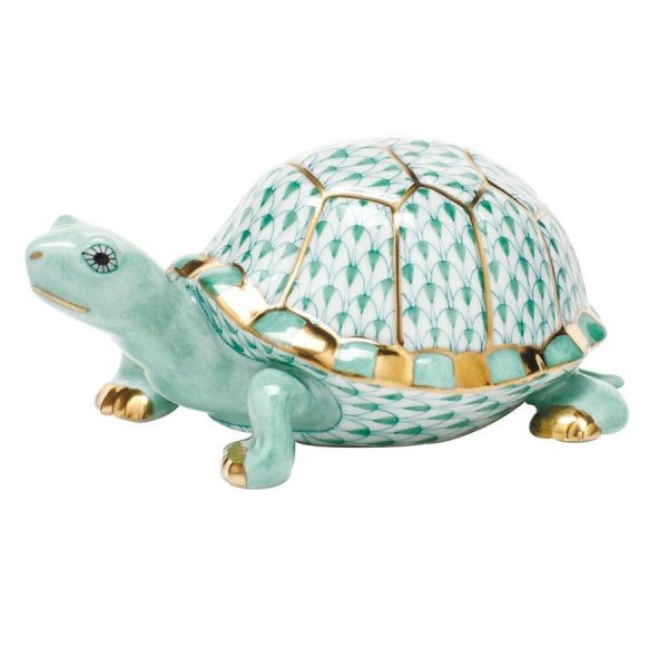 Herend Box Turtle Figurine Green Fishnet