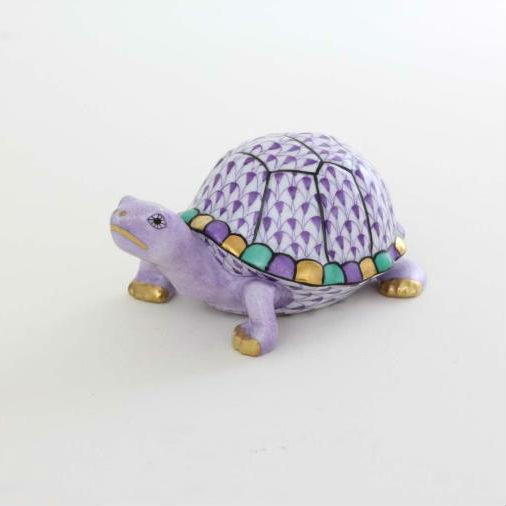 Herend Box Turtle Figurine Purple Fishnet