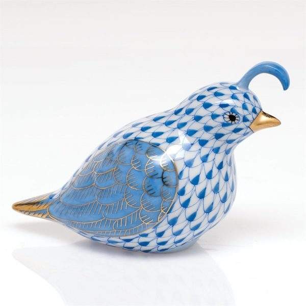 Herend California Quail Figurine Blue Fishnet
