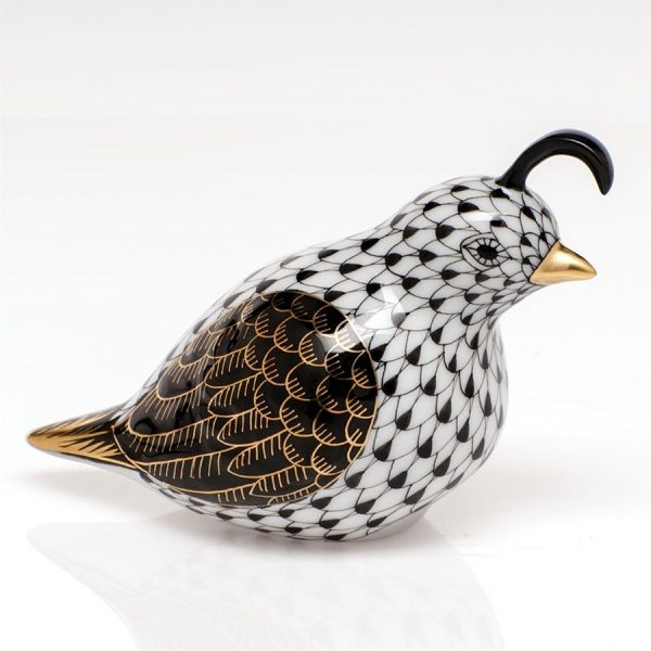 Herend California Quail Figurine Black Fishnet
