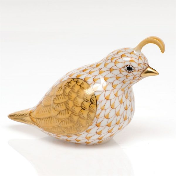 Herend California Quail Figurine Butterscotch Fishnet