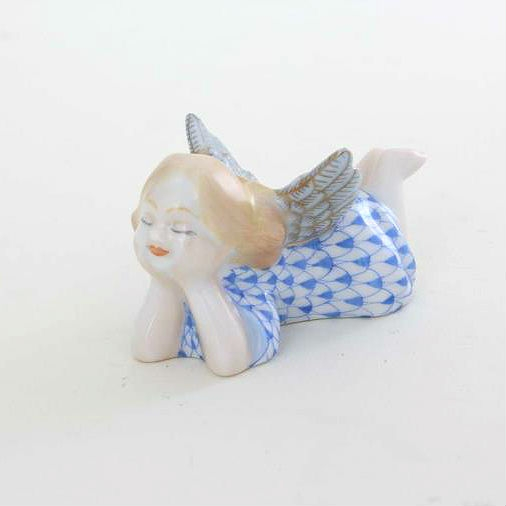 Herend Tranquility Lying Angel Figurine Pink Fishnet