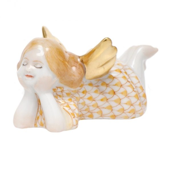 Herend Tranquility Lying Angel Figurine Butterscotch Fishnet