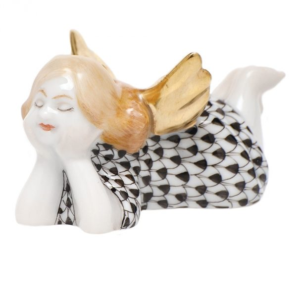 Herend Tranquility Lying Angel Figurine Black Fishnet